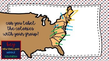 13 Colonies Sticky Note Map-It Smartboard Activity