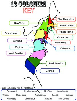picture relating to Printable Map of New Jersey known as 13 Colonies: University student Worksheet/Printable: Map