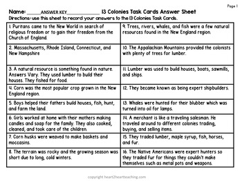13 Colonies Task Cards With Bonus Vocabulary Cards