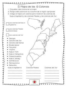 Thirteen Colonies Test/Examen de Las Trece Colonias  (Spanish)