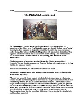 Colonization: 13 colonies The Puritans reading, documents, and questions