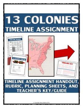 13 Colonies - Timeline Assignment (Handout, Teacher Key, R