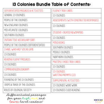 13 Colonies Unit for Thirteen Colonies and Life in Colonial America Bundle