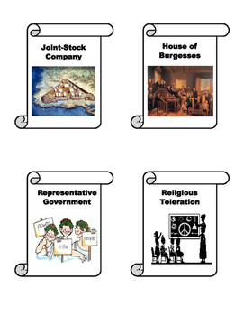13 Colonies Vocabulary Matching Cards