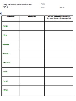 13 Colonies - Vocabulary Packet - PART 2!