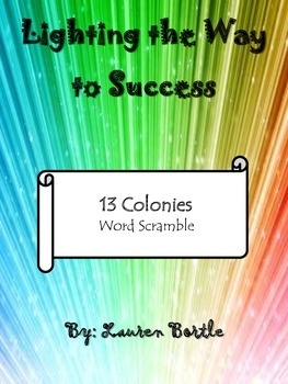 13 Colonies - Word Scramble