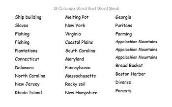 13 Colonies Word Sort