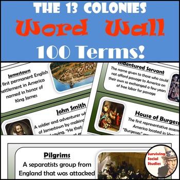 13 Colonies Word Wall - 100 Terms/People with Definitions and Images