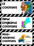 13 Colonies Word Wall Cards- Aligned to 3rd Grade GSE
