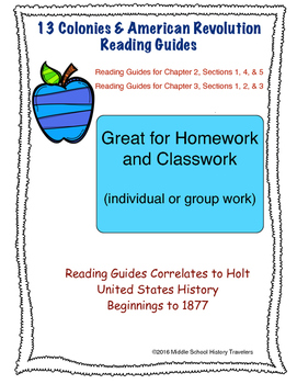 13 Colonies and American Revolution Reading Guides for Holt textbook