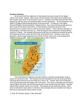 13 Colonies reading passages with comprehension questions