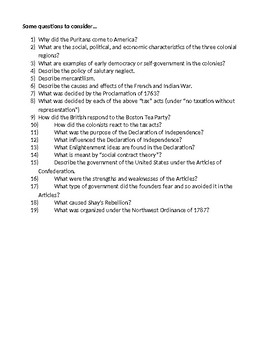 13 Colonies to Articles of Confederation Review Sheet