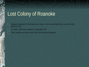 13 Colonies/Middle, New England, Southern Colonies, Lost Colony of Roanoke