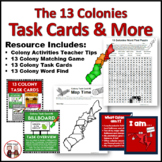 13 Colony Activities Matching Cards, Word Find, Task Cards