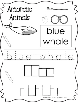 13 Color, Read, Trace, and Box Write Antarctic Animals Worksheets. Preschool-KDG