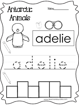 13 Color, Read, Trace, and Box Write Antarctic Animals Wor