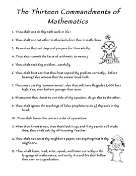 13 Commandments of Math for Middle School