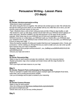 13 Day Persuasive Writing Lesson Plan