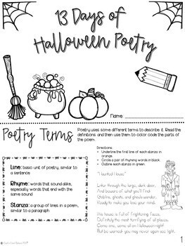 Halloween Writing: 13 Days of Poetry Booklet