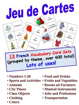 12 French Vocabulary Picture and Word Card Sets (Grouped by Theme, 600 cards)