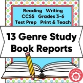 13 Genre Study One-Page Book Reports: State Test Prep