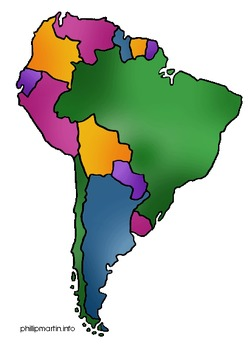 13 Geography/Map Internet Assignments for Continent of South America
