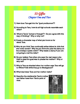 13 Gifts by Wendy Mass Literature Unit