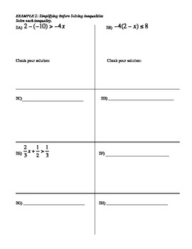 13) Guided Notes: Solving Two and Multi Step Inequalities (to accompany ppt)