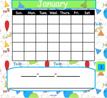 13 Interactive Calendar with Space to Add Date in Numbers and Words {SMARTBoard}