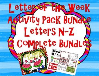 13 Letter Bundle N-Z Alphabet Activity Packs 800+ pages Co