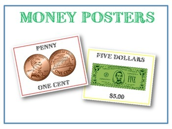13 Money Posters - Coins & Bills Poster Set - Includes $2 & Sacagawea Coin