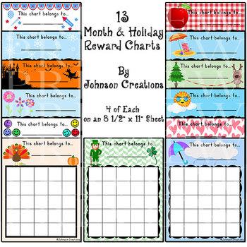 13 Monthly Reward Charts