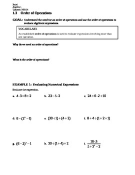 1.3 Order of Operations