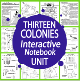 The 13 Colonies Interactive Notebook Unit~THIRTEEN Literacy Based Lessons!