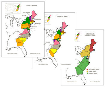 13 Original Colonies of the USA - Maps