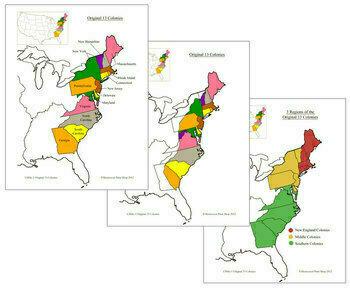 13 Original Colonies of the USA - Maps