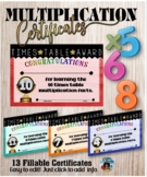 Multiplication Awards  {Fillable}