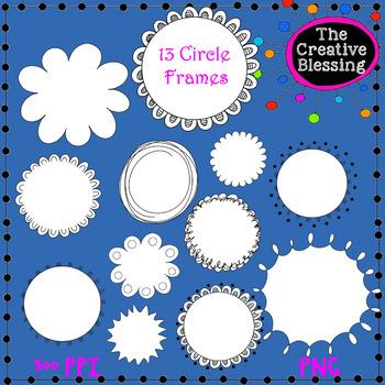 12 Round Doodle Frames