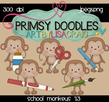 13-School Monkeys 300 dpi clipart