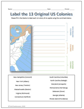 13 Us Colonies Their Capitals Labeling Worksheet Map By Techcheck