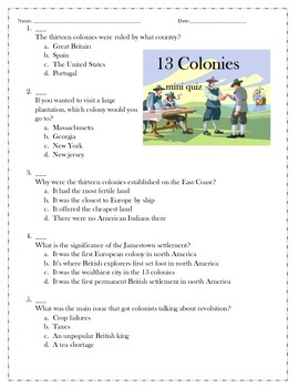13 colonies mini quiz