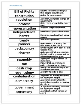 13 colonies vocabulary