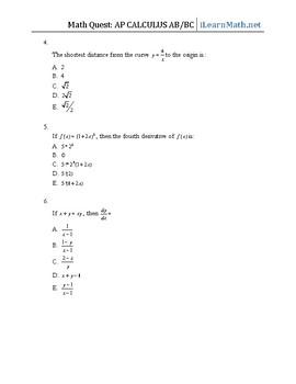 130 AP Calculus Multiple Choice Questions (Mock)