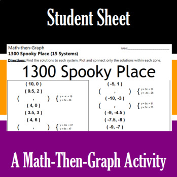 1300 Spooky Place - 15 Linear Systems & Coordinate Graphing Activity