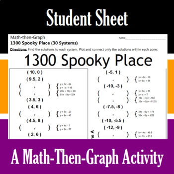 1300 Spooky Place - A Math-Then-Graph Activity - Solve 30 Systems