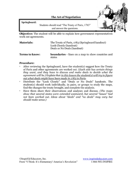 1304-15 The Treaty of Paris (Grades 3-5)