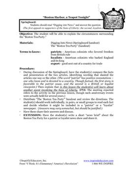 1304-6 Boston Tea Party Two Lesson Set! (Grades 3-5)