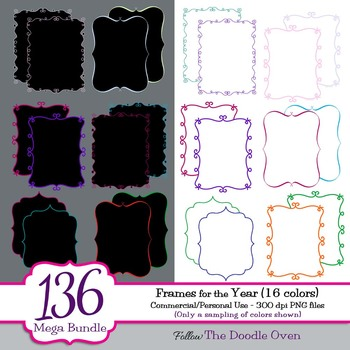 Colorful Frames With Black Or White Text Area Huge Set By Heidi Babin