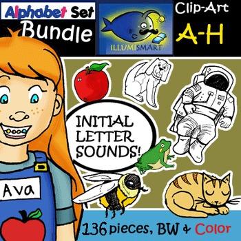 """120 Pc. BUNDLE: Initial """"A-H"""" Kindergarten Clip-Art! BW & Color"""