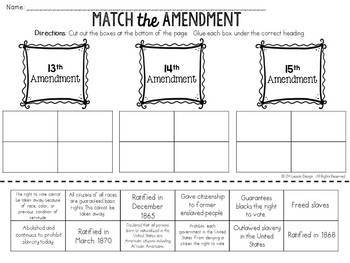 13th 14th and 15th Amendments: Activity BUNDLE